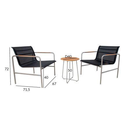 Parvekesarja TELA, pöytä ja 2 tuolia
