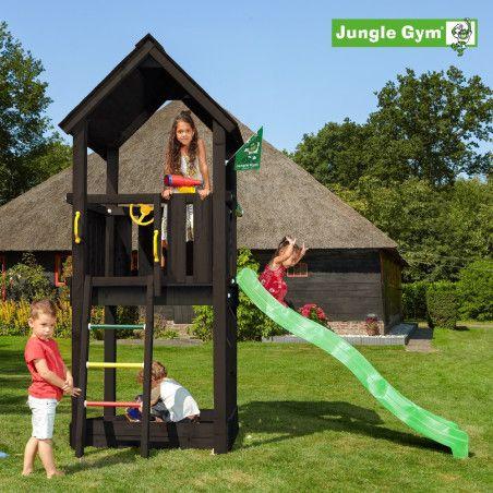 Jungle Gym Club leikkitornikokonaisuus sis. liukumäen, mustaksi petsattu