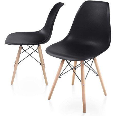 Ruokapöydän tuolit pyökkipuisilla jaloilla, 2kpl Musta
