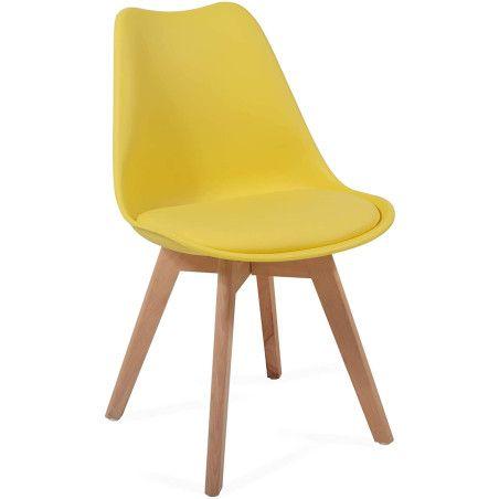 Ruokapöydän tuolit pehmusteella, 2kpl Keltainen