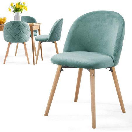 Ruokapöydän tuolit Sametti, 4kpl Turkoosi