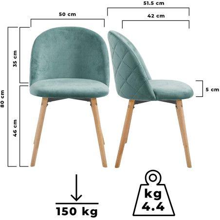 Ruokapöydän tuolit Sametti, 8kpl Turkoosi