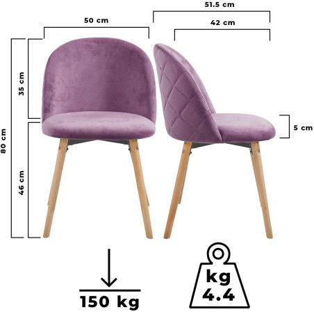 Ruokapöydän tuolit Sametti, 6kpl Violetti