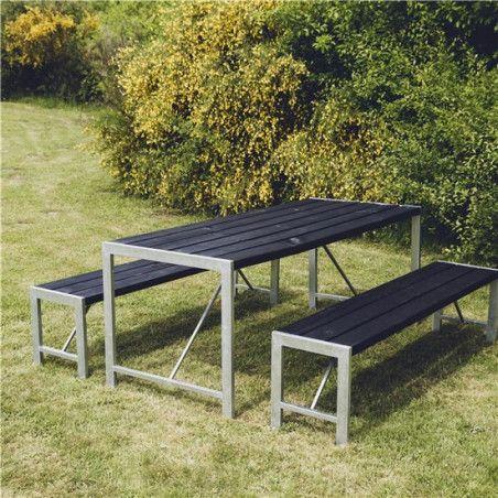 Pöytä ja 2 penkkiä H-malli