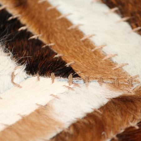 Matto aitoa nahkaa tilkkutyö 80x150 cm chevron ruskea/valkoinen