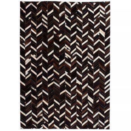 Matto aitoa nahkaa tilkkutyö 80x150 cm chevron musta/valkoinen