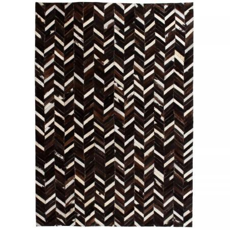 Matto aitoa nahkaa tilkkutyö 160x230 cm chevron musta/valkoinen