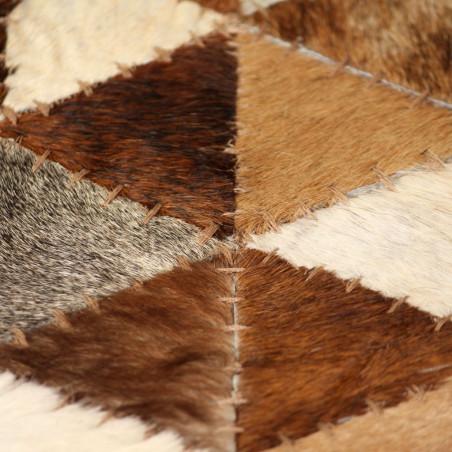 Matto aitoa nahkaa tilkkutyö 80x150 cm kolmio ruskea/valkoinen