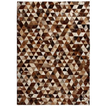 Matto aito nahka tilkkutyö kolmio ruskea/valkoinen 120x170 cm