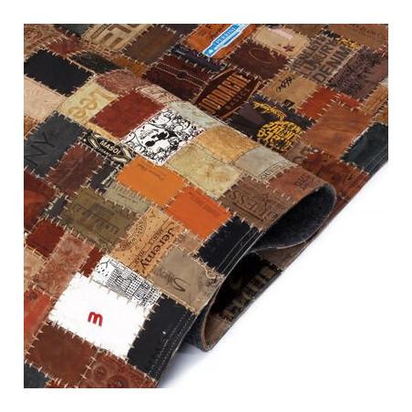 Tilkkumatto farkkujen merkkilapuista aito nahka 120x170cm