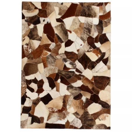 Matto aito nahka tilkkutyö 160x230 cm ruskea/valkoinen