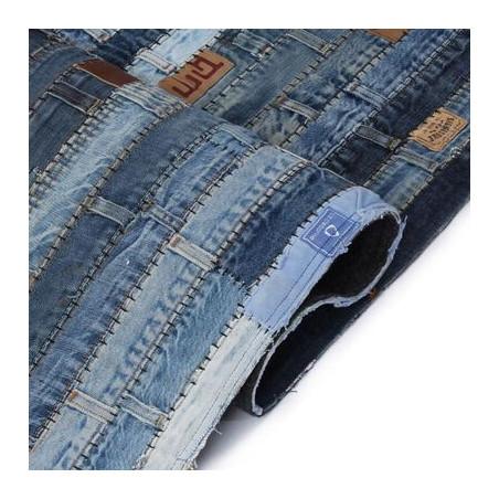Tilkkumatto farkkujen vyötärönauhoista 120x170 cm