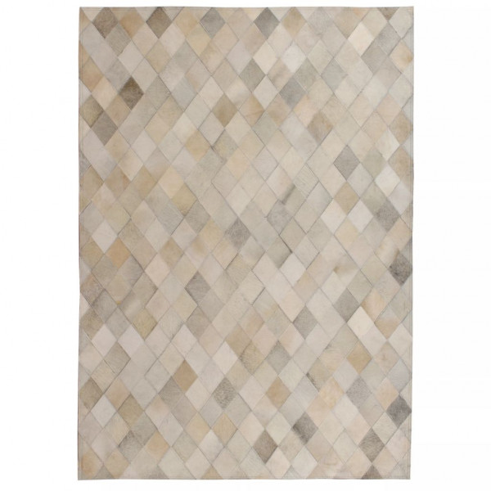 Matto aito nahka tilkkutyö 120x170 cm timanttikuvio harmaa