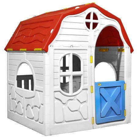 Lasten kokoontaittuva leikkimökki ovella ja ikkunoilla