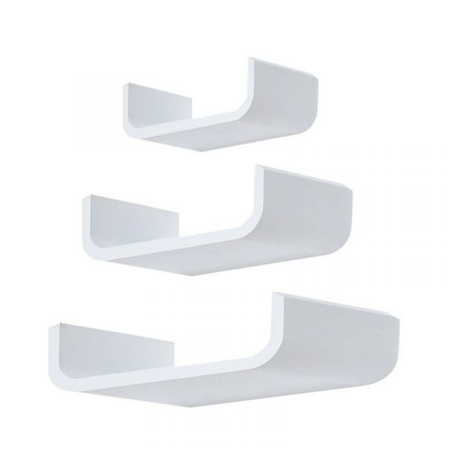 Moderni valkoinen kaareva seinähylly (3 kpl)