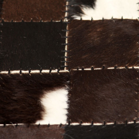 Matto aitoa nahkaa tilkkutyö 120x170 cm neliö musta/valkoinen