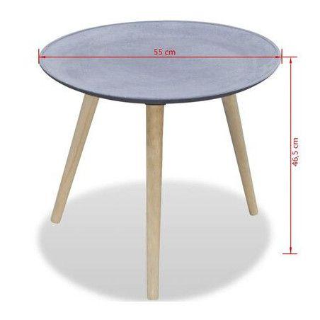 Pyöreä sivupöytä harmaa betonityyli