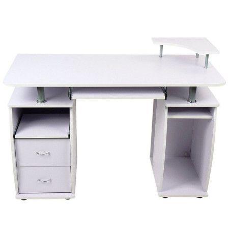 Tietokonepöytä vetolaatikoilla valkoinen