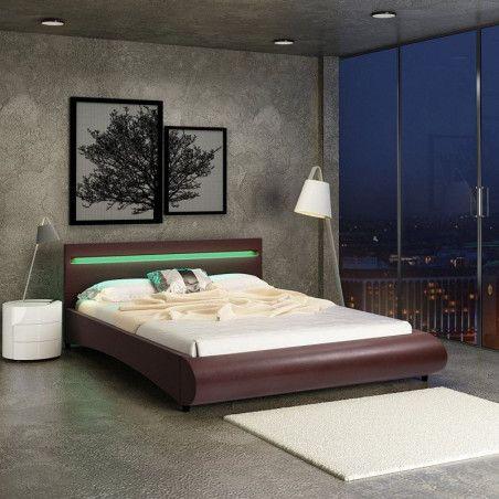 Tekonahkainen sängynrunko LED-sängynpäädyllä 140x200 cm, ruskea