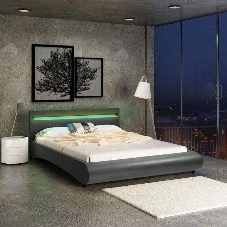Tekonahkainen sängynrunko LED-sängynpäädyllä 140x200 cm, harmaa