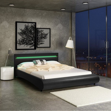 Tekonahkainen sängynrunko LED-sängynpäädyllä 140x200 cm, musta