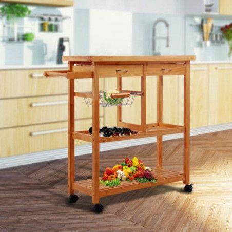 Monikäyttöinen puinen keittiövaunu (vaalea)