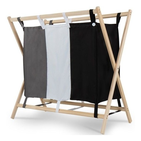 Pyykkikori kolmella lokerolla