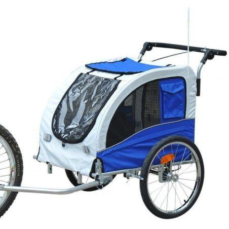 Pyöräilykärry lemmikille (sinivalkoinen)