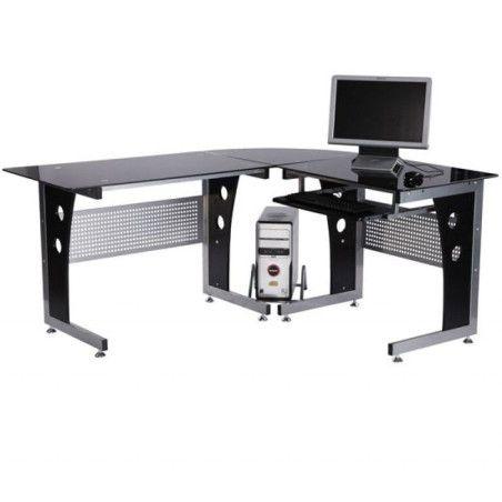 3-osainen tietokonepöytä (musta)