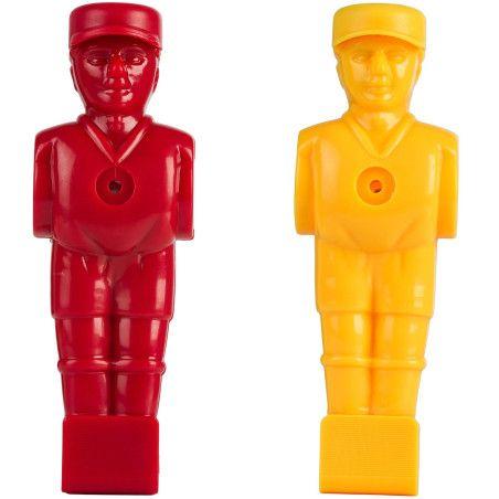 Pöytäjalkapallon pelaajahahmot, punainen/keltainen