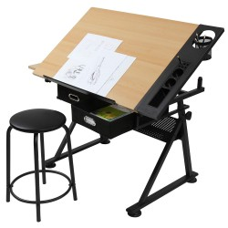 Piirustuspöytä, musta/puu