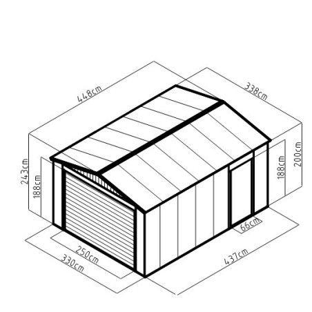 Peltivarasto / Autotalli rullaovella 15m2 HARMAA