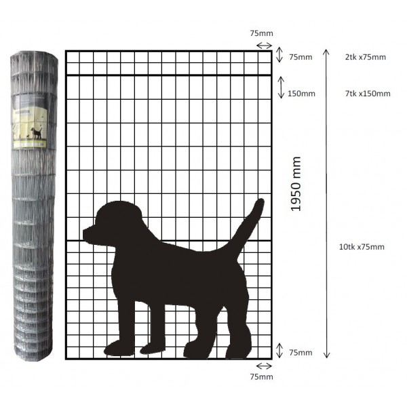 Koiraverkko 25 x 1,95m, hitsattu