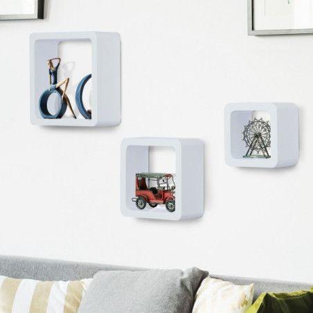 Seinähylly 3 kappaletta, valkoinen