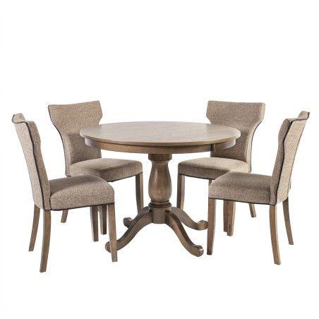 MANOR ruokailuryhmä, pyöreä pöytä & 4 tuolia