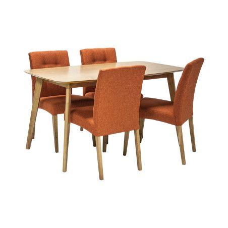 ENRICH ruokailuryhmä, pöytä & 4 oranssia tuolia