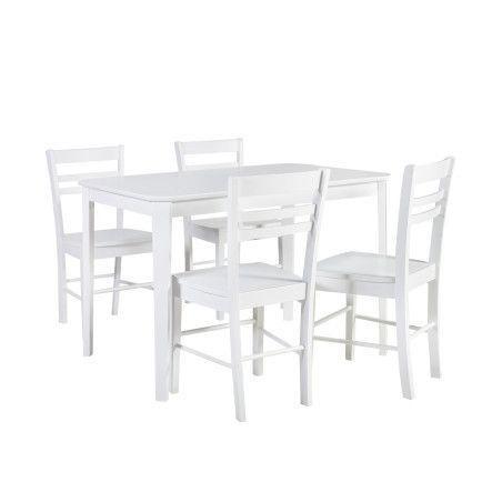 TAKE AWAY ruokailuryhmä, pöytä & 4 tuolia, valkoinen