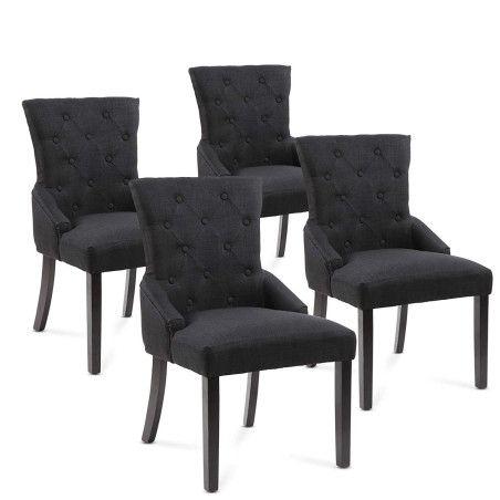 Pehmustetu Ruokapöydän tuolit 4 kpl, musta