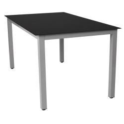 Alumiinirunkoinen lasipöytä