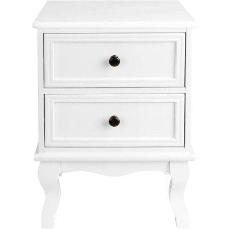 Yöpöytä laatikoilla, valkoinen