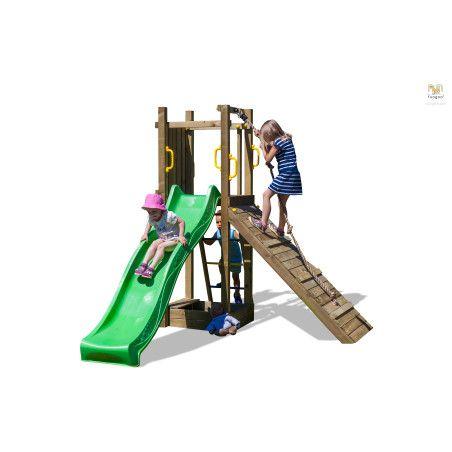 Fungoo Funny 3 leikkikeskus rampilla ja hiekkalaatikolla