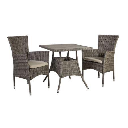 PALOMA Puutarharyhmä pöytä + 2 tuolia, Ruskeanharmaa