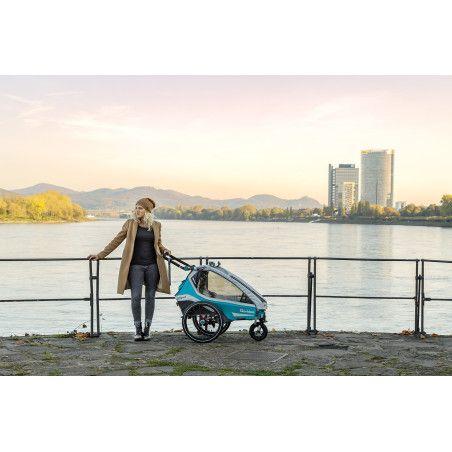 Qeridoo KidGoo1 polkupyörän peräkärry 2020, sininen tai harmaa