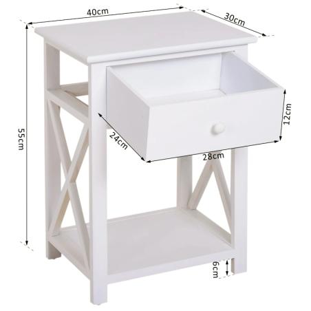 HOMCOM sivupöytä/yöpöytä laatikolla, Puu, Valkoinen