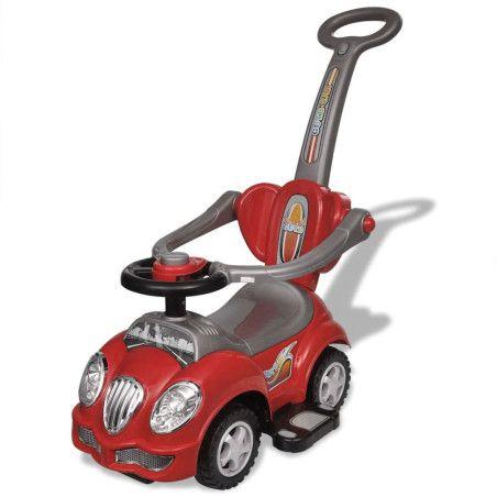 Lasten istuttava leluauto työntökahvalla Punainen