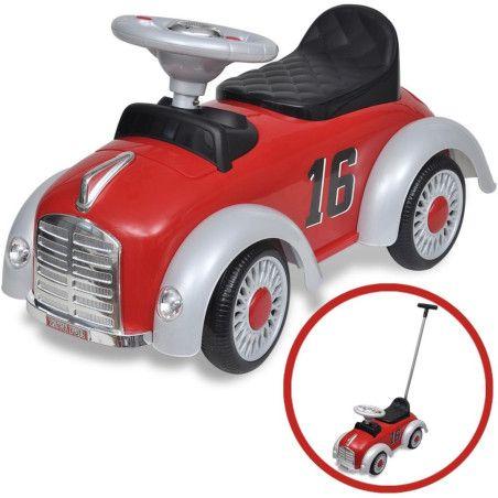 Lasten istuttava leluauto työntökahvalla Punainen Retro