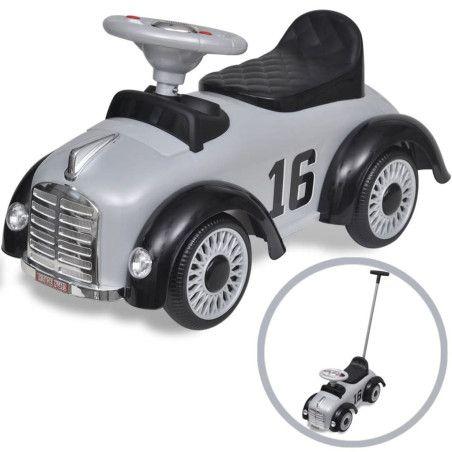 Lasten istuttava leluauto työntökahvalla Harmaa Retro