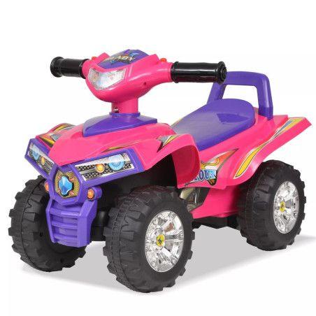Lasten ajettava mönkijä äänillä ja valoilla pinkki ja violetti