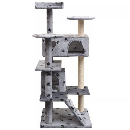 Kissan raapimispuu sisal-pylväillä 125 cm tassunjäljet Harmaa