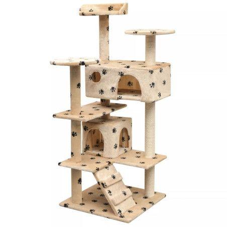 Kissan raapimispuu sisal-pylväillä 125 cm tassunjäljet Beige